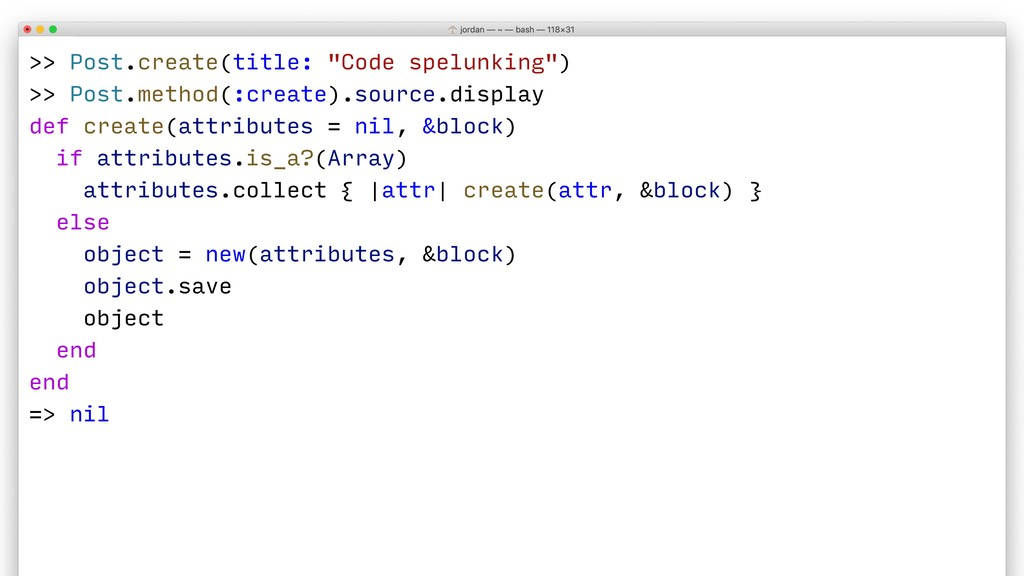 ">> Post.create(title: ""Code spelunking"") >> Pos..."