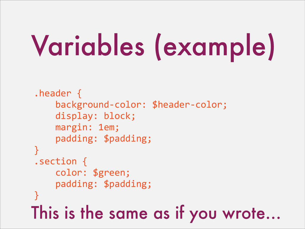 Variables (example) .header	