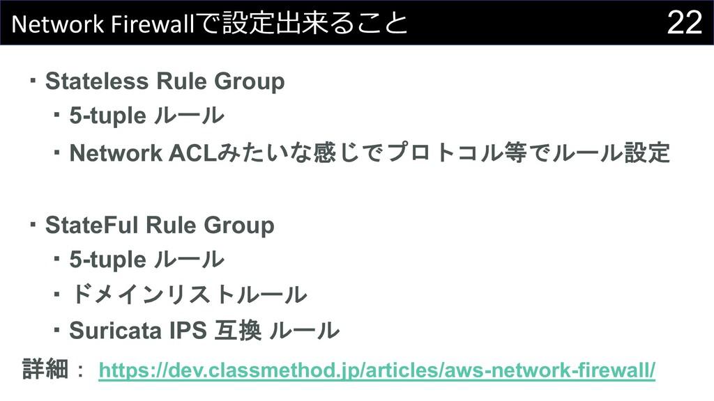 22 Network Firewallで設定出来ること ・Stateless Rule Gro...