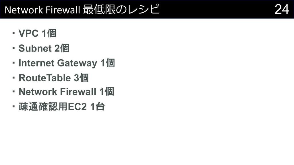 24 Network Firewall 最低限のレシピ ・VPC 1個 ・Subnet 2個 ...