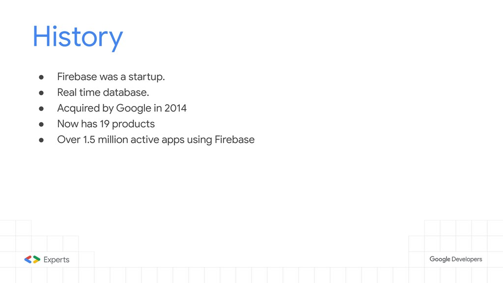 ● Firebase was a startup. ● Real time database....