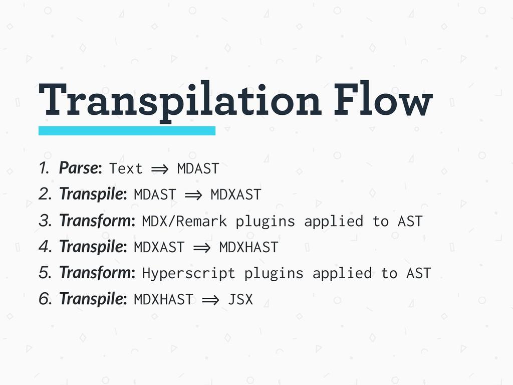1. Parse: Text => MDAST 2. Transpile: MDAST => ...