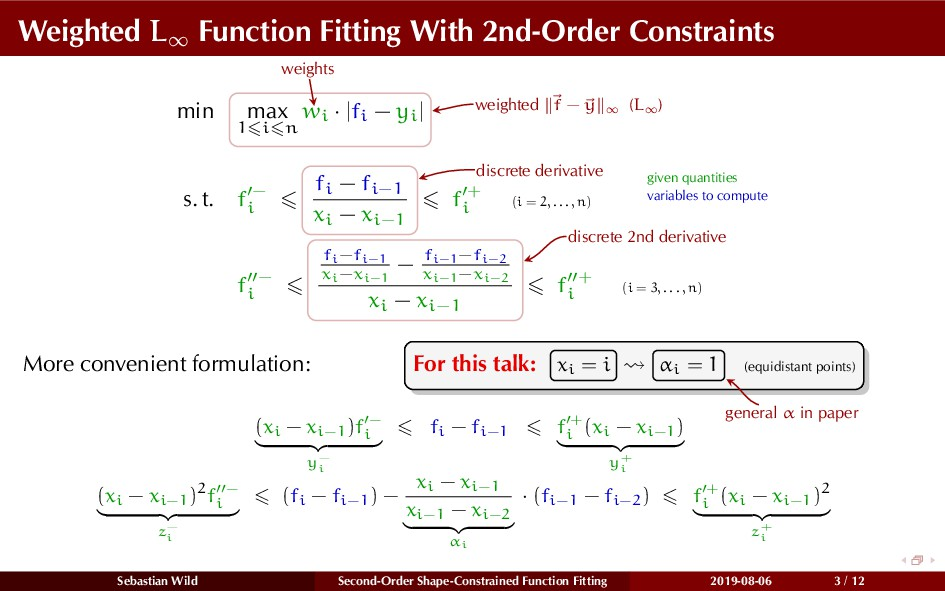 Weighted L∞ Function Fitting With 2nd-Order Con...