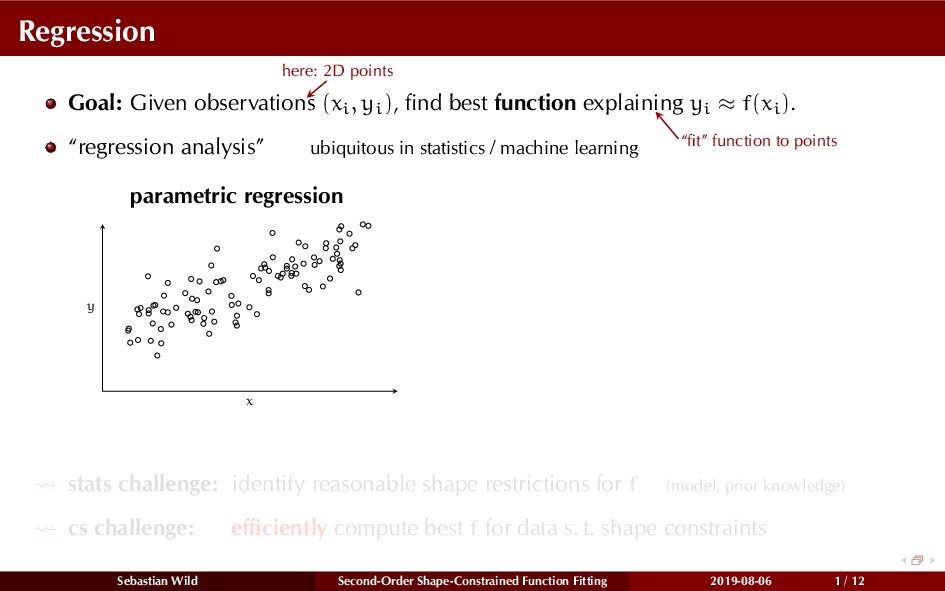 Regression Goal: Given observations here: 2D po...