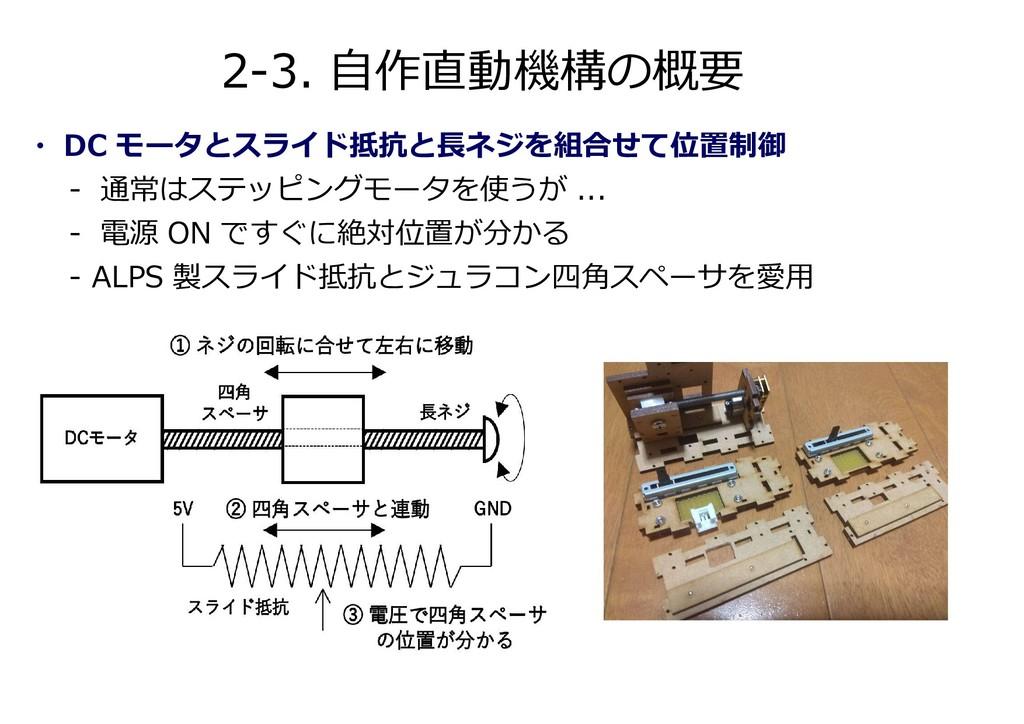 2-3. 自作直動機構の概要 ・ DC モータとスライド抵抗と⾧ネジを組合せて位置制御 - 通...