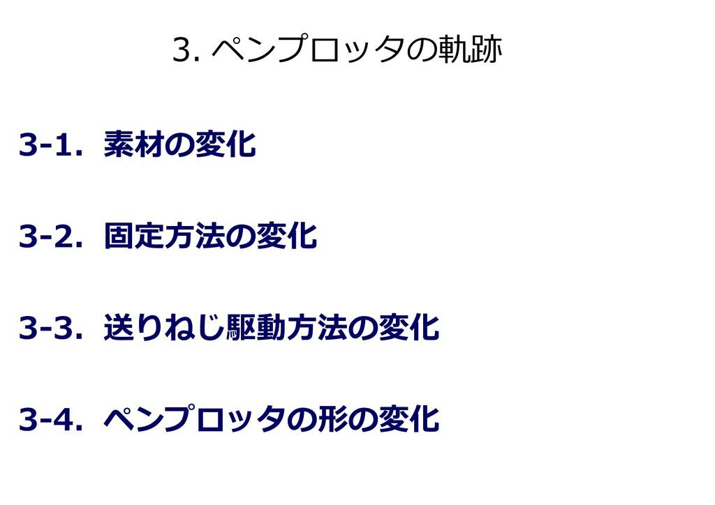 3. ペンプロッタの軌跡 3-1. 素材の変化 3-2. 固定方法の変化 3-3. 送りねじ駆...