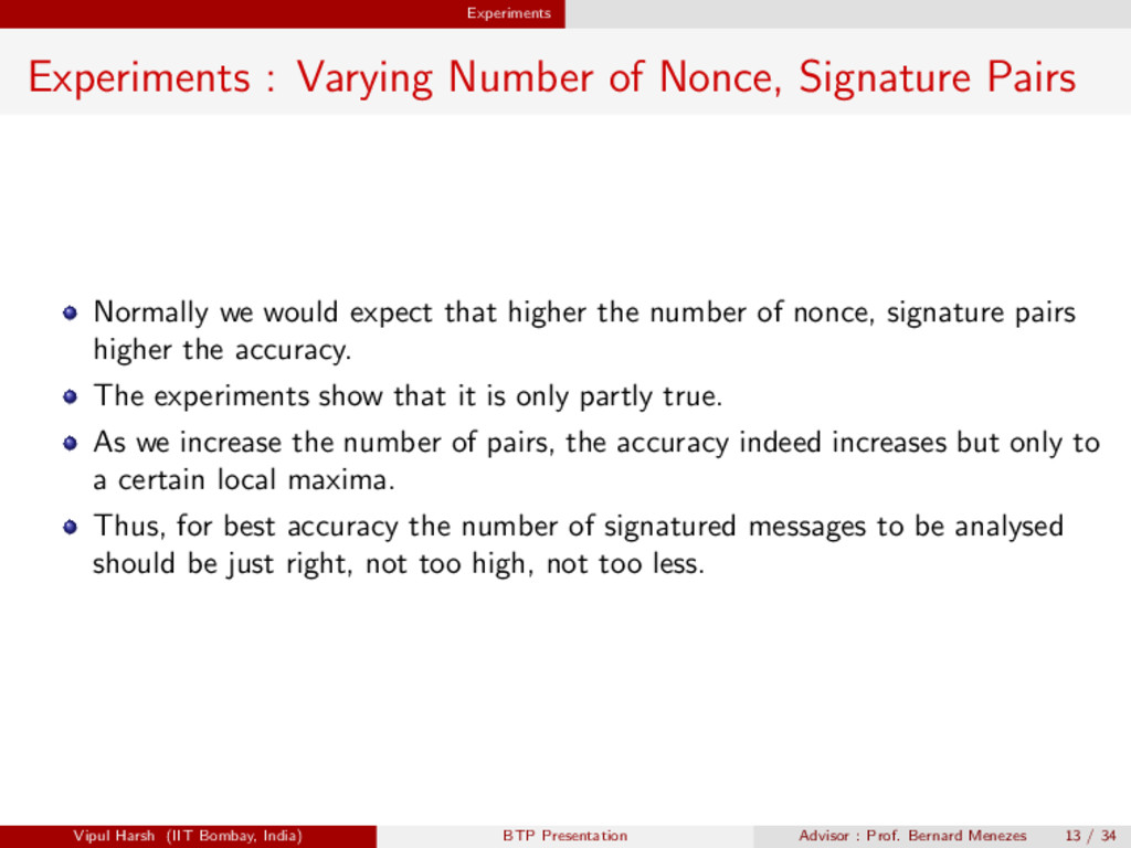 Experiments Experiments : Varying Number of Non...