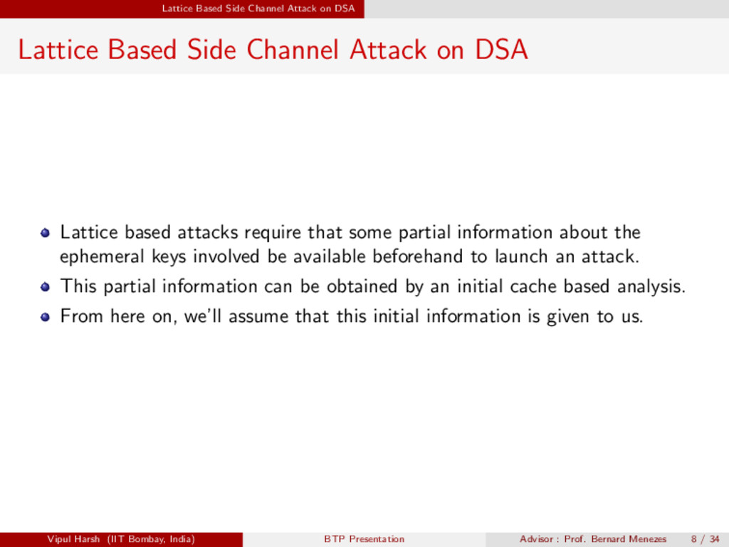 Lattice Based Side Channel Attack on DSA Lattic...