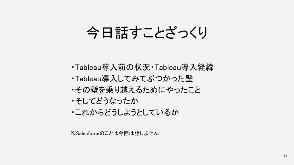 11 今日話すことざっくり ・Tableau導入前の状況・Tableau導入経緯 ・Tab...