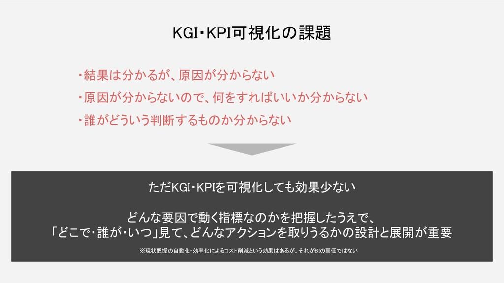 KGI・KPI可視化の課題 ただKGI・KPIを可視化しても効果少ない  どんな要因で動...