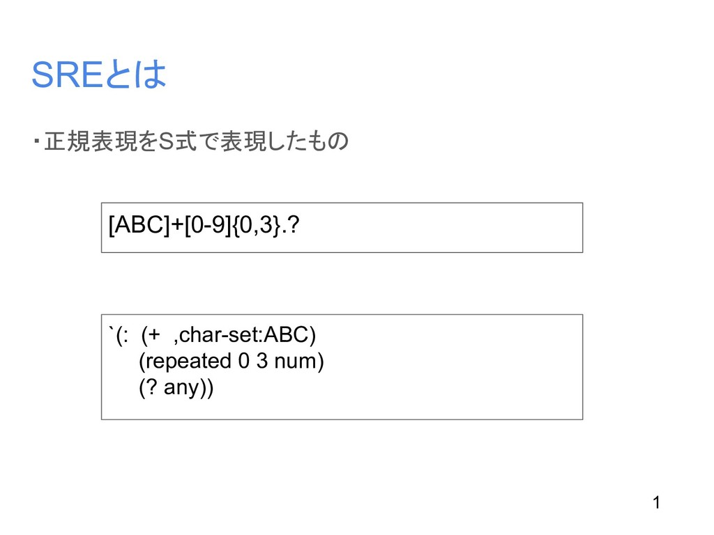 SREとは ・正規表現をS式で表現したもの [ABC]+[0-9]{0,3}.? `(: (+...