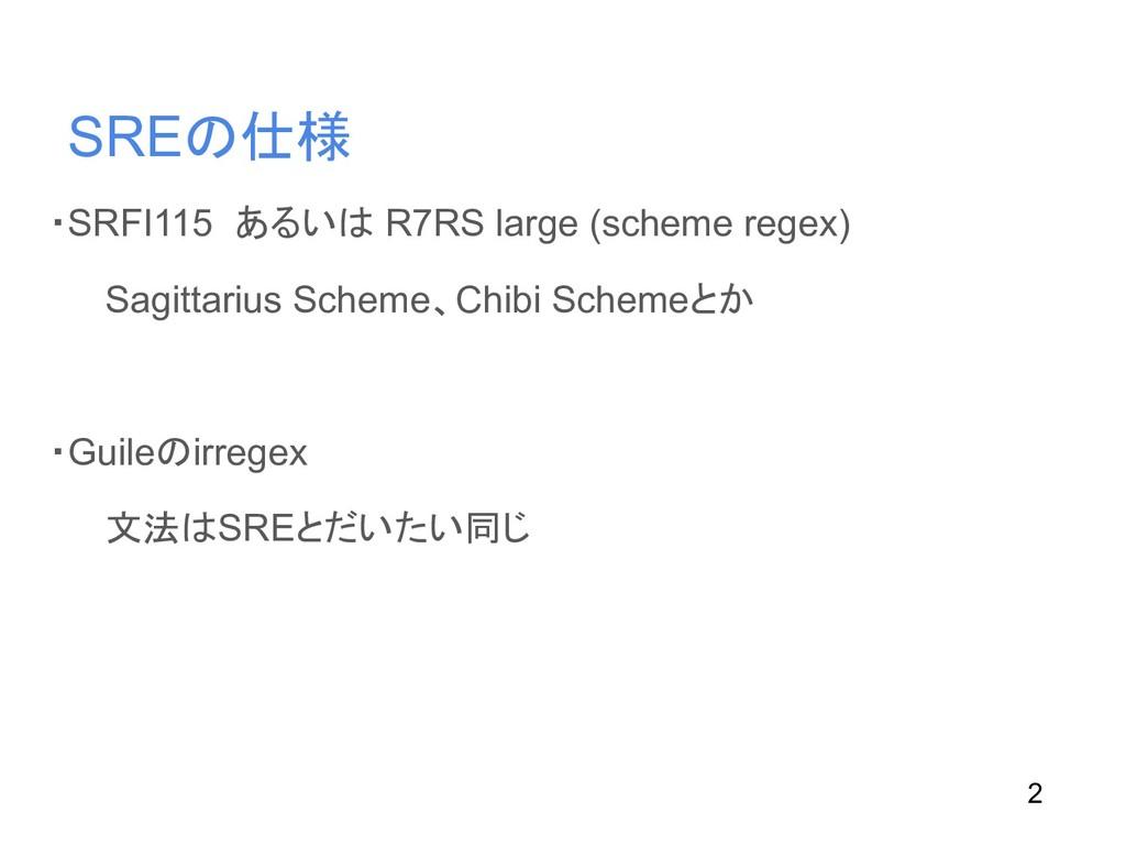 ・SRFI115 あるいは R7RS large (scheme regex) Sagitta...