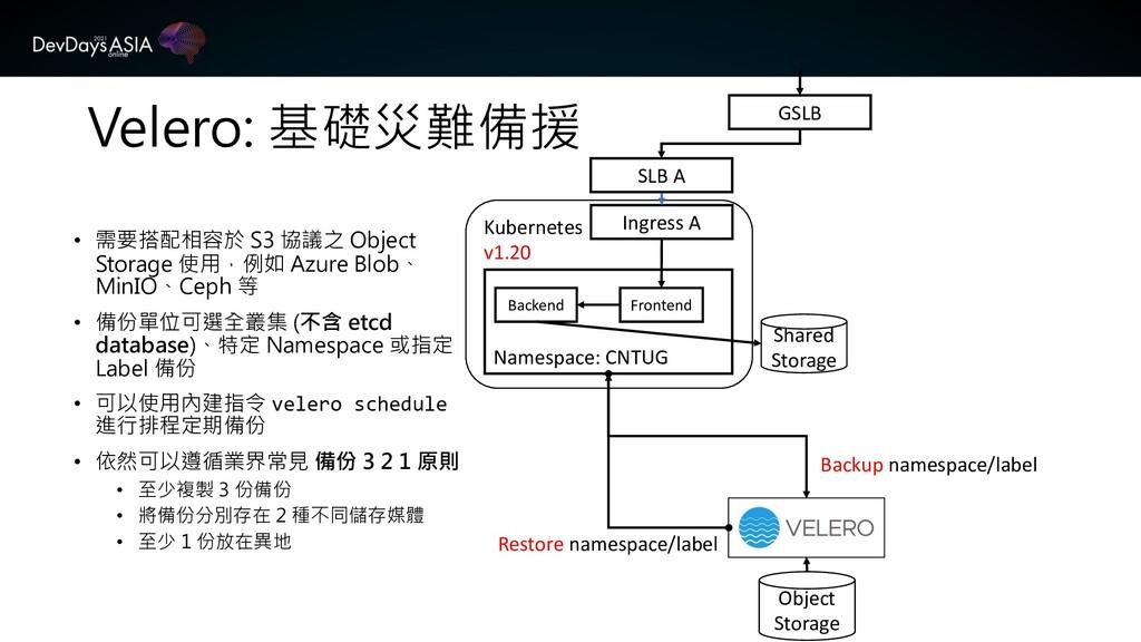 Velero: 基礎災難備援 • 需要搭配相容於 S3 協議之 Object Storage ...