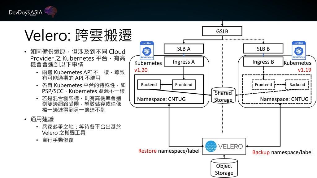 Velero: 跨雲搬遷 • 如同備份還原,但涉及到不同 Cloud Provider 之 K...