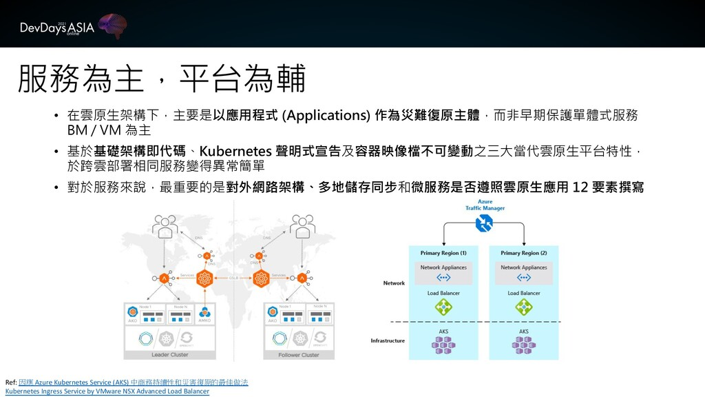 服務為主,平台為輔 Ref: 因應 Azure Kubernetes Service (AKS...