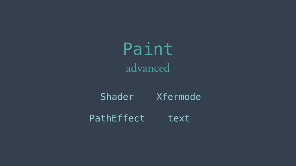 Shader PathEffect Xfermode text Paint advanced