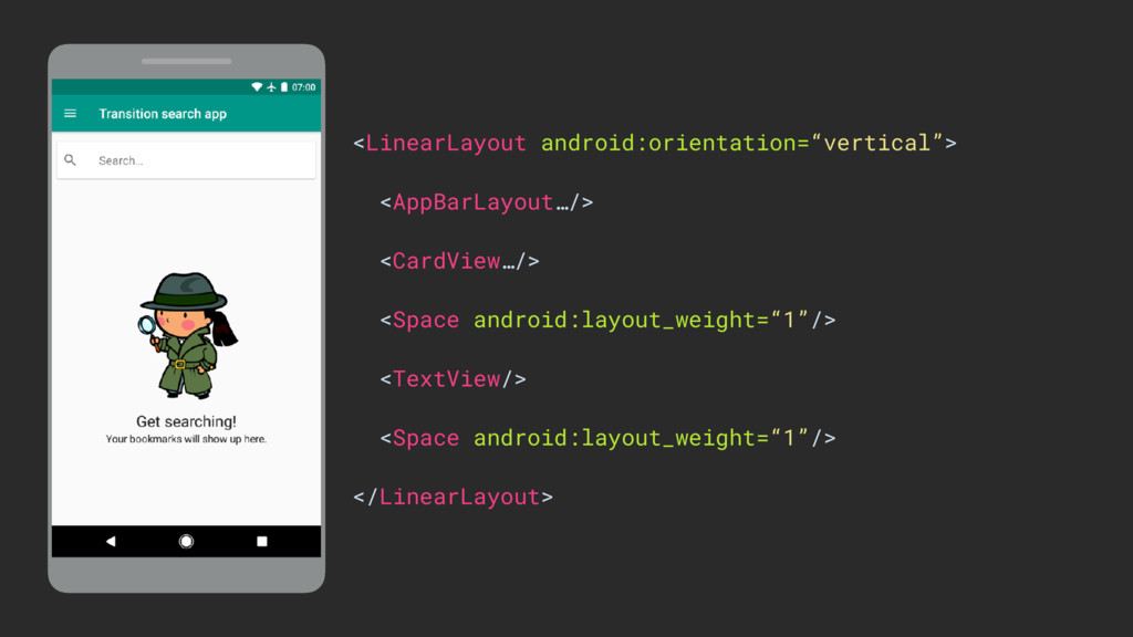 """<LinearLayout android:orientation=""""vertical""""> <..."""
