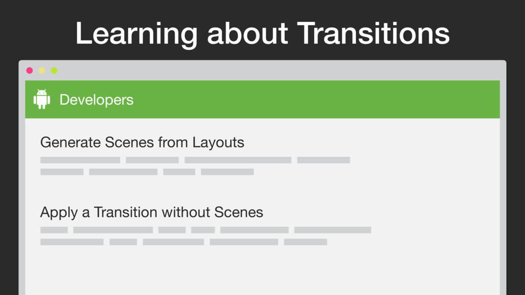 Learning about Transitions Developers Generate ...