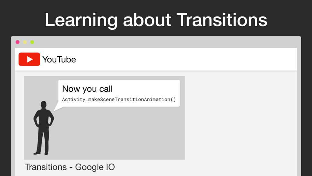 Transitions - Google IO YouTube Now you call  A...
