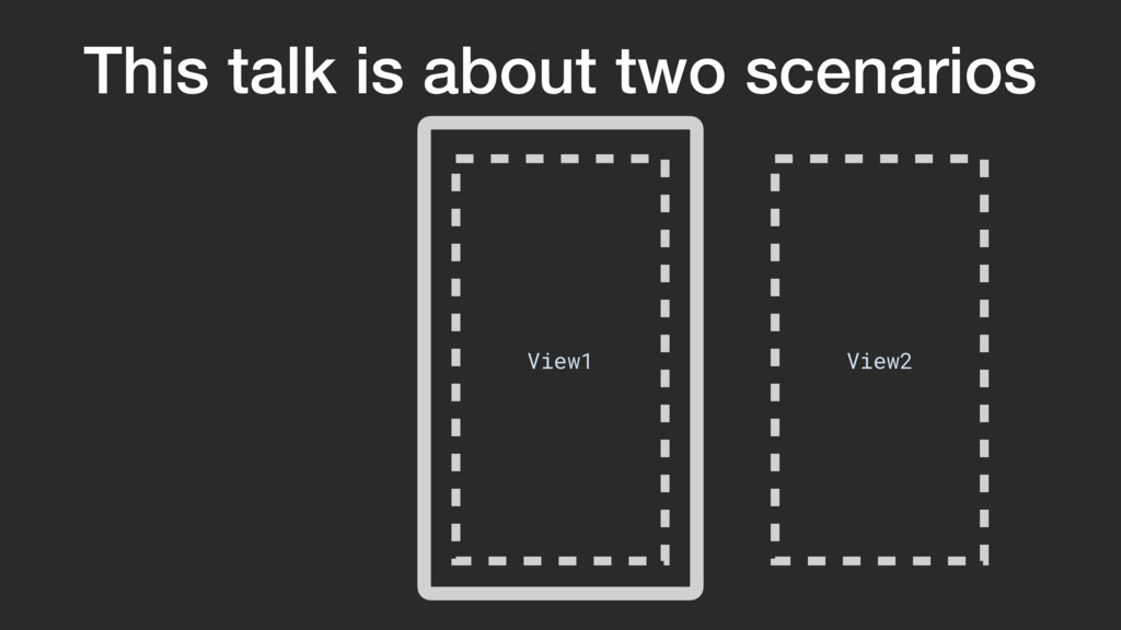 This talk is about two scenarios View1 View2