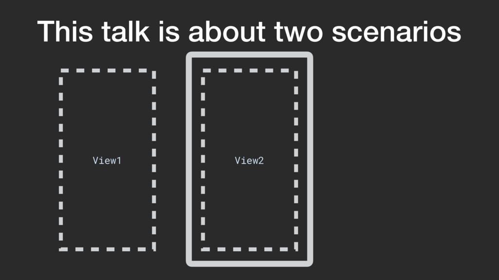 This talk is about two scenarios View2 View1