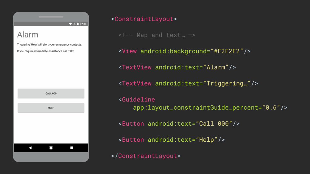 <ConstraintLayout> <!-- Map and text… —> <View ...