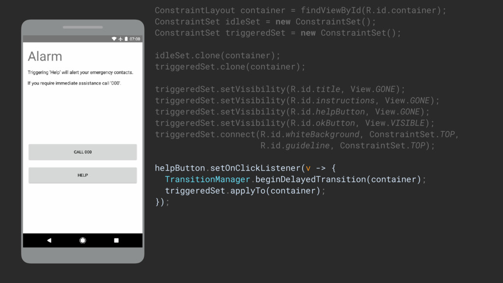 ConstraintLayout container = findViewById(R.id....