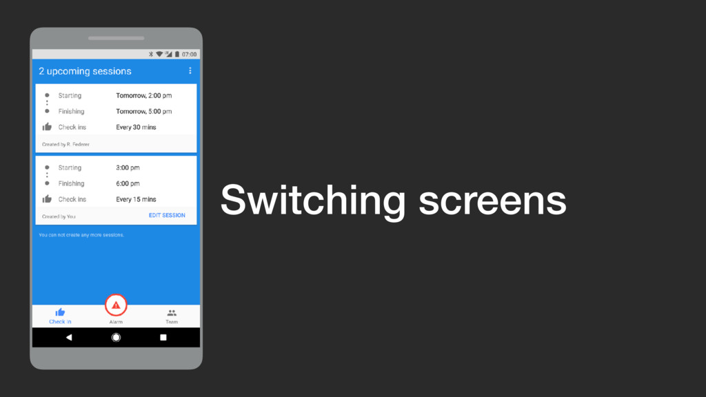 Switching screens