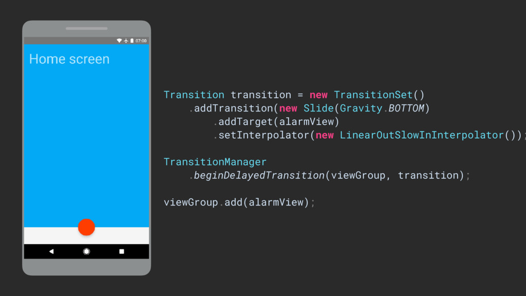 ViewGroup Transition transition = new Transitio...