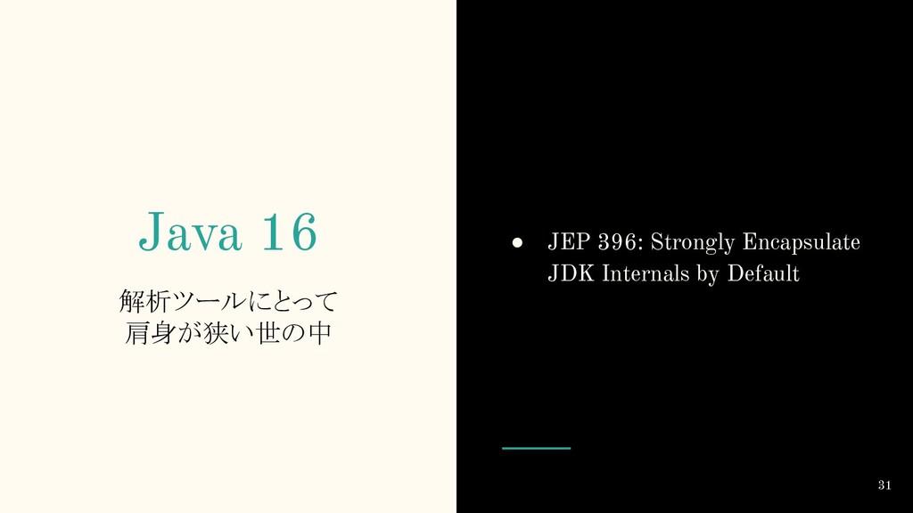 Java 16 解析ツールにとって 肩身が狭い世の中 ● JEP 396: Strongly ...