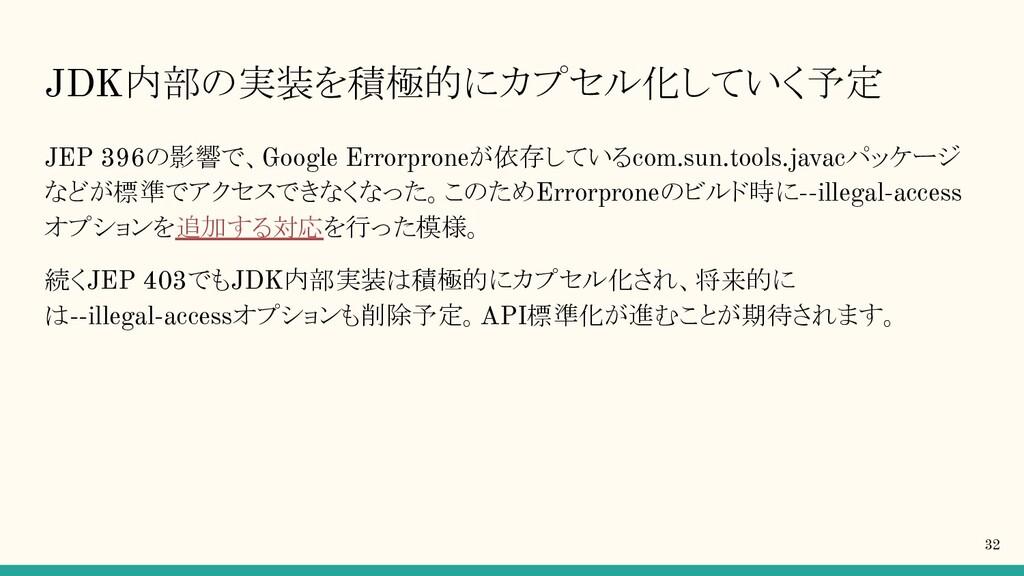 JDK内部の実装を積極的にカプセル化していく予定 JEP 396の影響で、Google Err...