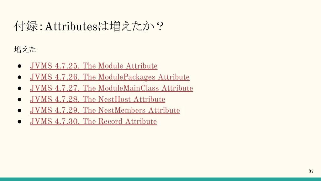 付録:Attributesは増えたか? 増えた ● JVMS 4.7.25. The Modu...