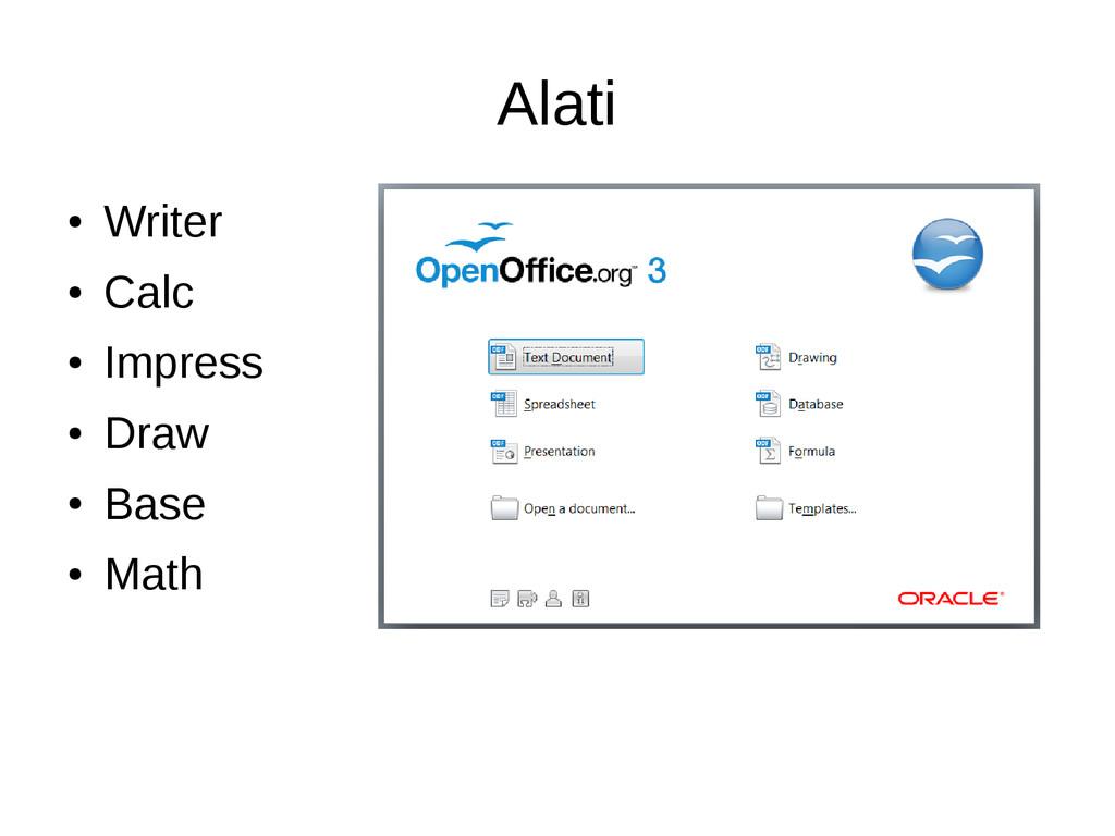 Alati ● Writer ● Calc ● Impress ● Draw ● Base ●...