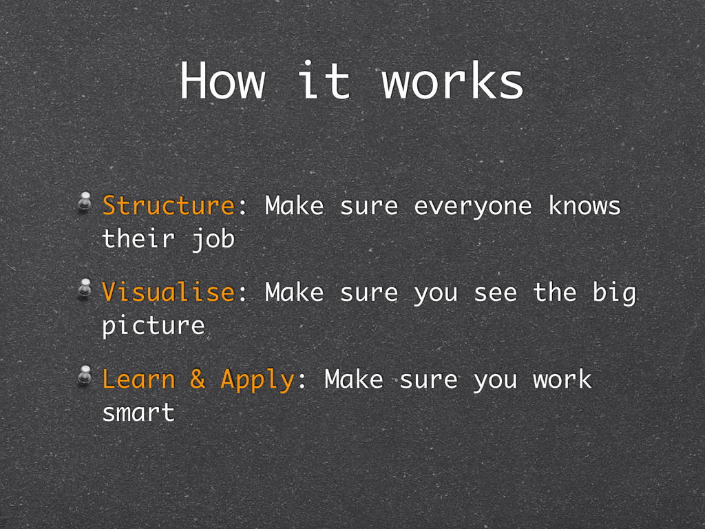 How it works Structure: Make sure everyone know...