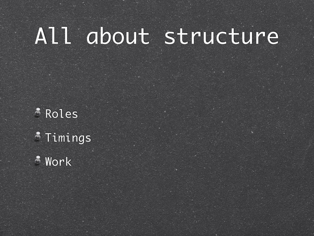 All about structure Roles Timings Work