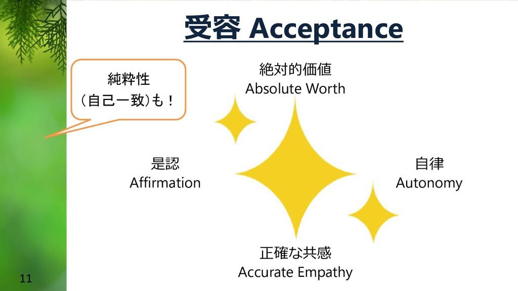 11 受容 Acceptance 絶対的価値 Absolute Worth 正確な共感 Acc...