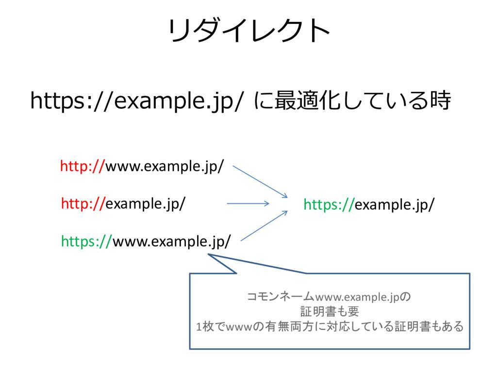 リダイレクト https://example.jp/ に最適化している時 https://ww...