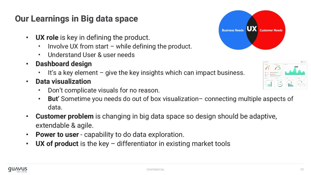 13 CONFIDENTIAL Our Learnings in Big data space...