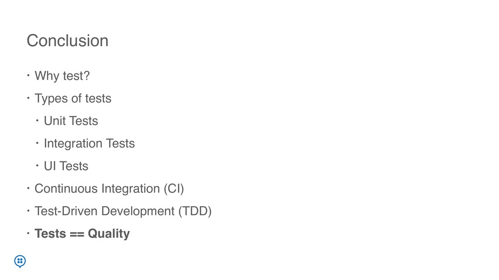 • Why test? • Types of tests • Unit Tests • Int...