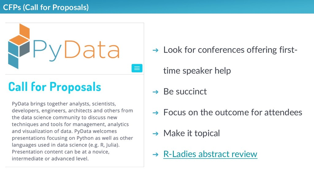 CFPs (Call for Proposals) ➔ Look for conference...