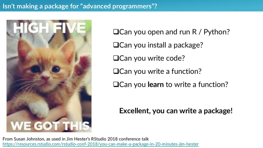 "Isn't making a package for ""advanced programmer..."
