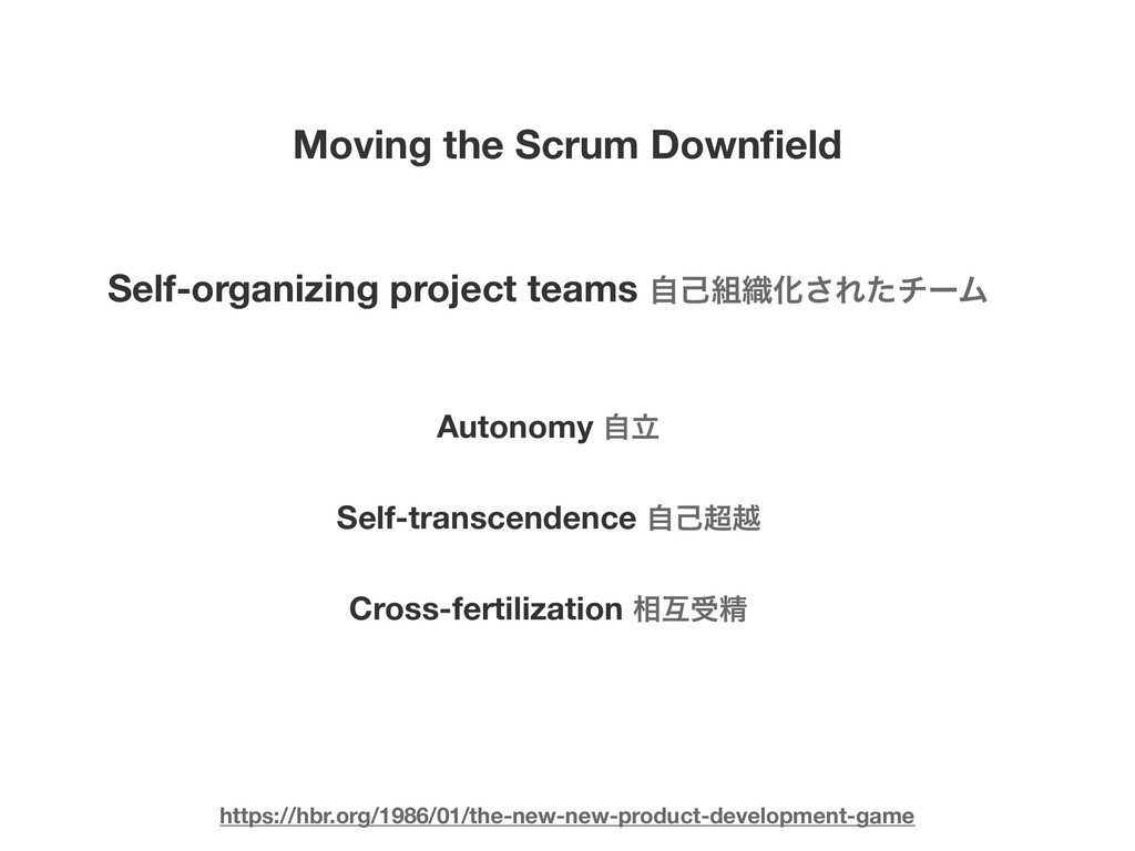 Moving the Scrum Downfield Self-organizing proje...