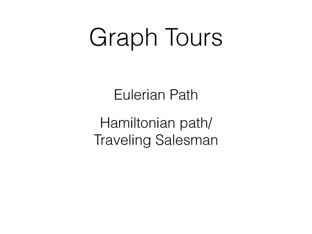 Graph Tours Eulerian Path Hamiltonian path/ Tra...