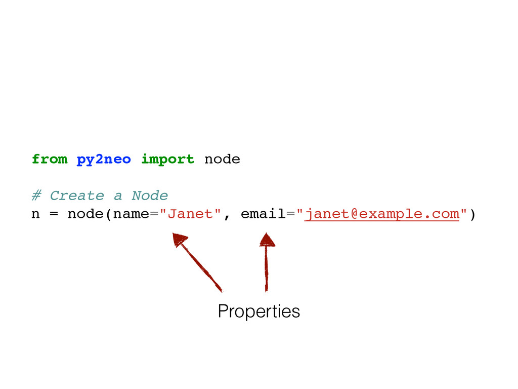 from py2neo import node! ! # Create a Node! n =...