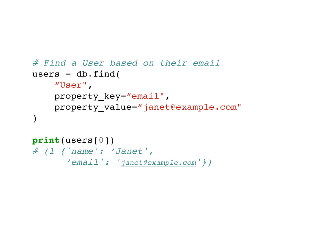 # Find a User based on their email! users = db....