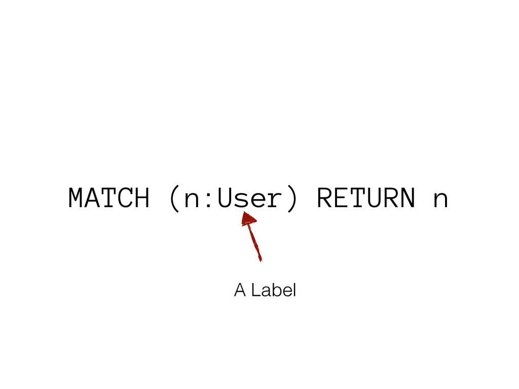 MATCH (n:User) RETURN n A Label