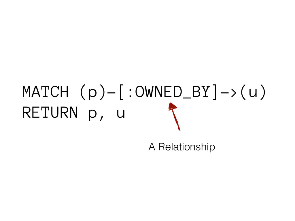 MATCH (p)-[:OWNED_BY]->(u) RETURN p, u A Relati...