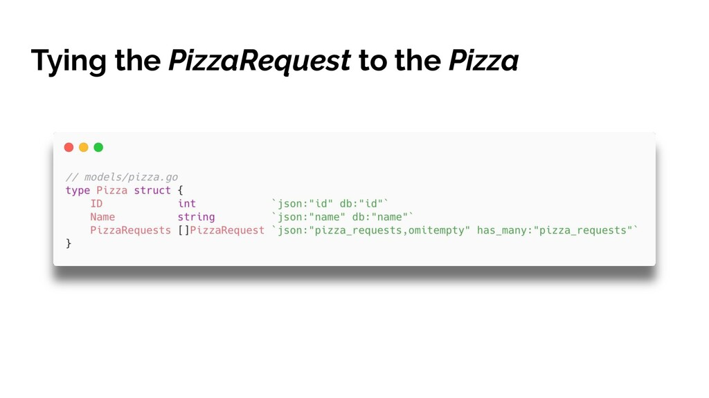 Tying the PizzaRequest to the Pizza