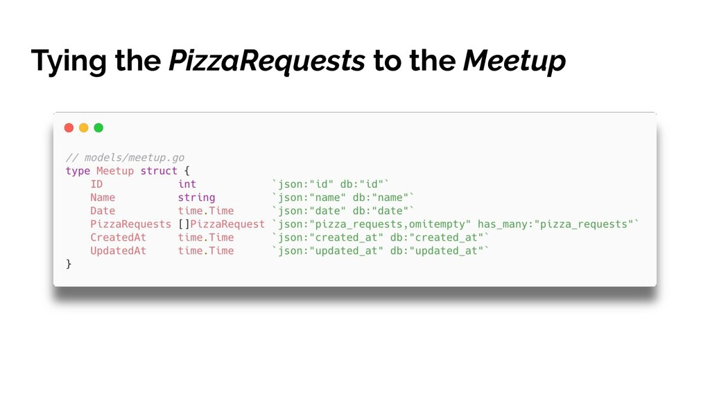 Tying the PizzaRequests to the Meetup