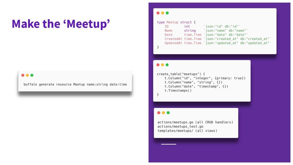 Make the 'Meetup'